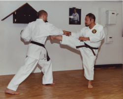 9th Dan, Soke Takayoshi Nagamine demonstrates mae geri (front kick) on 4th Dan, Sensei Michael Norvell.